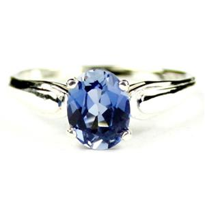 SR058, Created Blue Sapphire, 925 Sterling Silver Ring