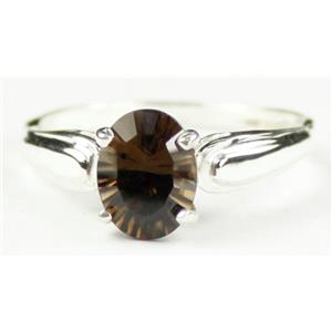 SR058, Smoky Quartz, 925 Sterling Silver Ring