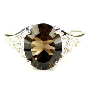 SR057, Smoky Quartz, 925 Sterling Silver ring