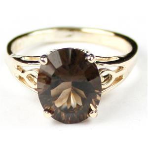R139, Smoky Quartz (Quantum Cut), Gold Ring