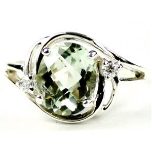 SR021, Green Amethyst, 925 Sterling Silver Ring