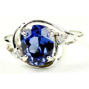 SR021, Created Blue Sapphire, 925 Sterling Silver Ring