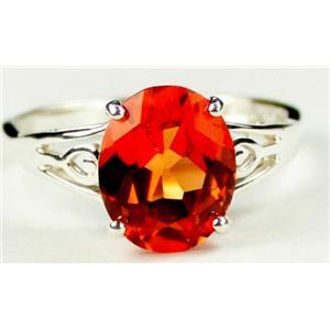SR139, Created Padparadsha Sapphire, 925 Silver Ring