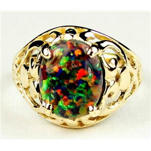 Created Black Opal, Gold Ring, R004