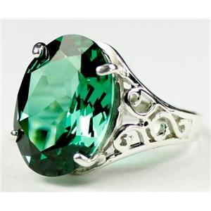 SR049, Russian Nanocrystal Emerald, 925 Sterling Silver Ring