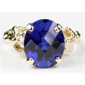 R154, Created Blue Sapphire, Gold Angel Ring