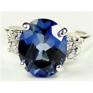 Created Blue Sapphire, 925 Sterling Silver Ring, SR123