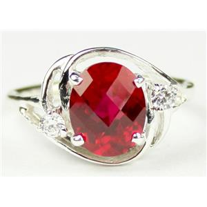 SR021, Created Ruby, 925 Sterling Silver Ring