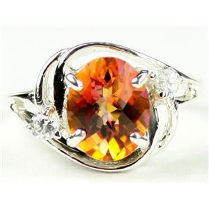 SR021, Twilight Fire Topaz, 925 Sterling Silver Ring
