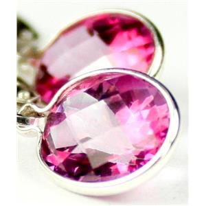 SE101, Pure Pink Topaz, 925 Sterling Silver Earrings