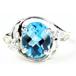 SR021, Swiss Blue Topaz, 925 Sterling Silver Ring