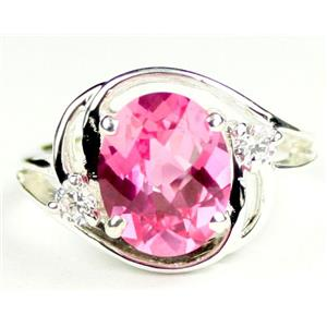 SR021, Created Pink Sapphire, 925 Sterling Silver Ring