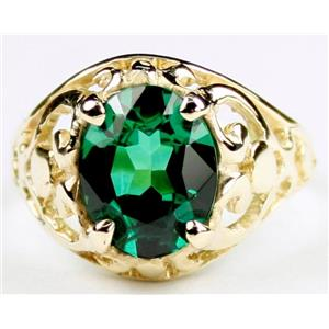 R004, Russian Nanocrystal Emerald, Gold Ring