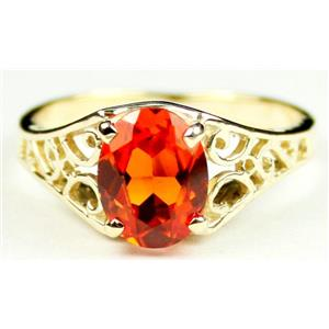 R005, Created Padparadsha Sapphire, Gold Ring