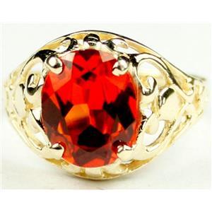 R004, Created Padparadsha Sapphire, Gold Ring