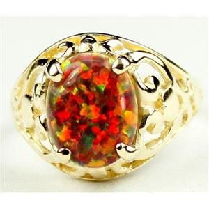 Created Red/Brown Opal, Gold Ring, R004