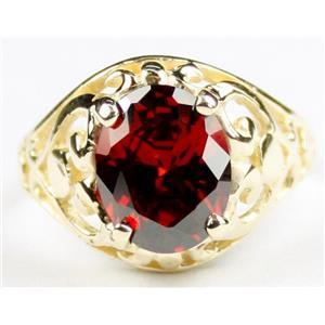 R004, Garnet CZ, Gold Ring