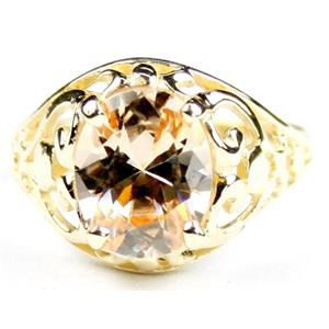 Champagne CZ, Gold Ring, R004