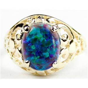 Created Blue/Green Opal, Gold Ring, R004