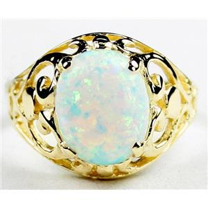 Created White Opal, Gold Ring, R004,