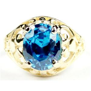 Swiss Blue CZ, Gold Ring, R004