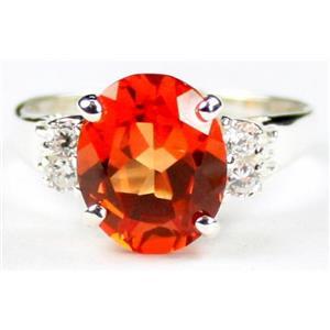 Created Padparadsha Sapphire, 925 Silver Ring, SR123