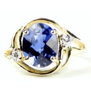 R021, Created Blue Sapphire, Gold Ring