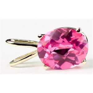 P002, Created Pink Sapphire 14K Gold Pendant