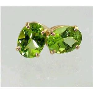 E002, Peridot, 14k Gold Earrings
