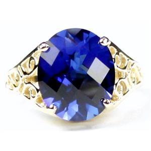 R057, Created Blue Sapphire, Gold Ring