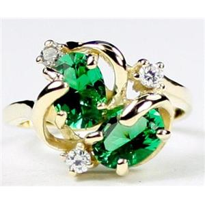 R016, Russian Nanocrystal Emerald, Gold Ring