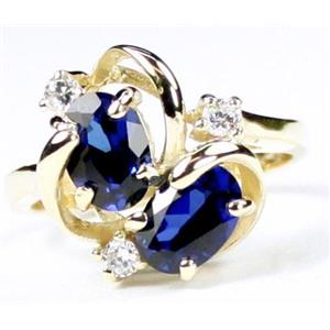 R016, Created Blue Sapphire, Gold Ring