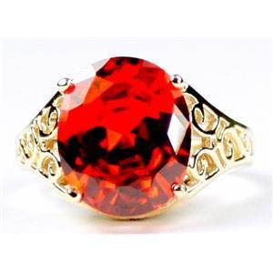 R057, Created Padparadsha Sapphire, Gold Ring