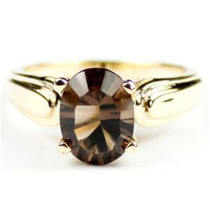 R058, Smoky Quartz, Gold Ring