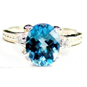 SR136, Swiss Blue Topaz, 925 Sterling Silver Ring