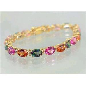 B002, Pink, Twilight & Mystic Topaz Gold Bracelet