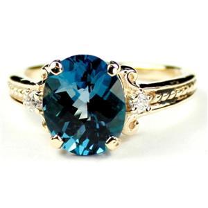 R136, London Blue Topaz Gold Ring