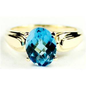 R058, Swiss Blue Topaz, Gold Ring