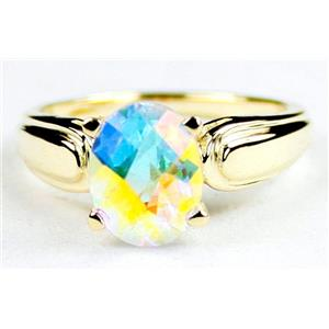 R058, Mercury Mist Topaz, Gold Ring