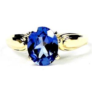 R058, Created Blue Sapphire, Gold Ring