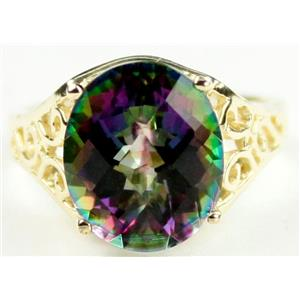 R057, Mystic Fire Topaz, Gold Ring