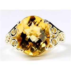 R057, Genuine Citrine, Gold Ring