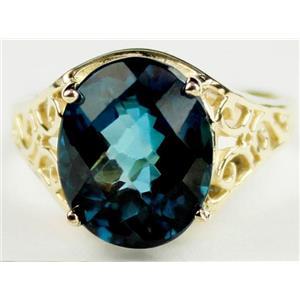 R057, London Blue Topaz, Gold Ring