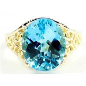 R057, Swiss Blue Topaz, Gold Ring