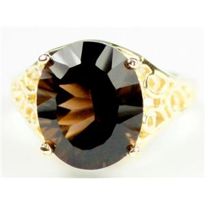 R057, Smoky Quartz, Gold Ring