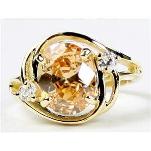R021, Champagne CZ, Gold Ring