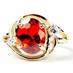 R021, Created Padparadsha Sapphire, Gold Ring
