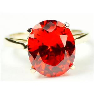 R055, Created Padparadsha Sapphire, Gold Ring
