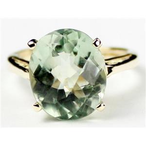 R055, Green Amethyst, Gold Ring
