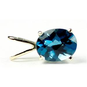 P002, London Blue Topaz 14k Gold Pendant